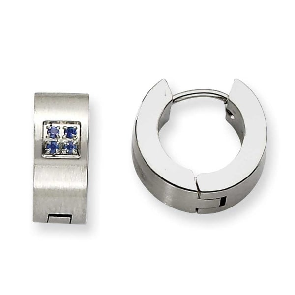 Chisel Stainless Steel Blue CZ Brushed & Polished Round Hinged Hoop Earrings
