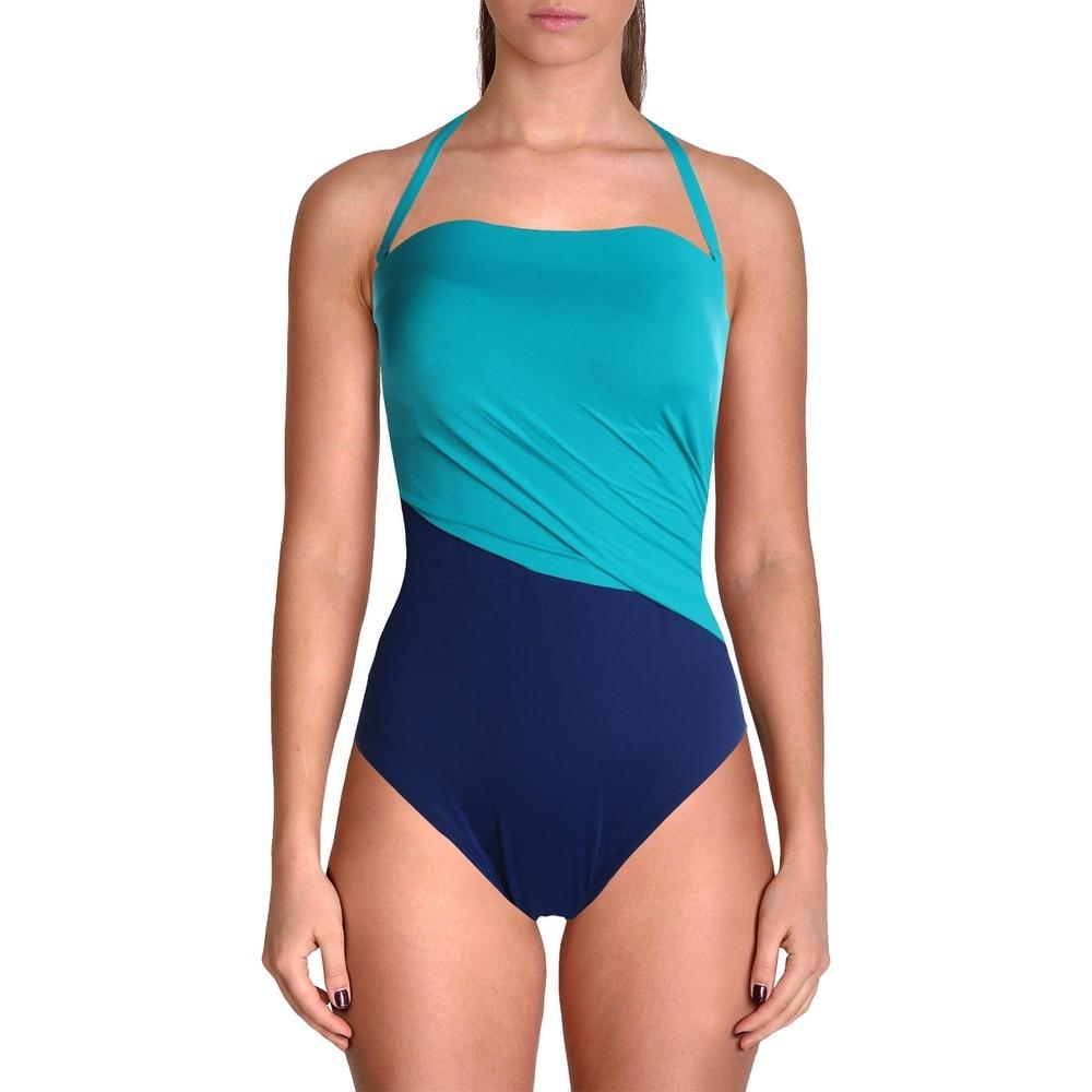 Lauren Ralph Lauren Womens Glamour Strapless Off-The-Shoulder One-Piece Swimsuit - Teal/Navy