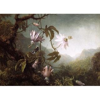 Easy Art Prints Martin Johnson Heade's 'Hummingbird Perched near Passion Flowers' Premium Canvas Art