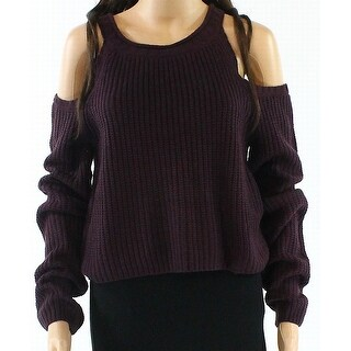 Elodie NEW Purple Womens XL Cold-Shoulder Scoop-Neck Knitted Sweater