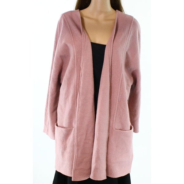 Alfani NEW Pink Women's Size Large L Open-Front Sweater Coat Wool ...
