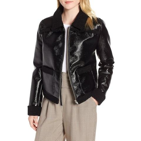 Trouve Black Women's Size Large L Faux Leather Shearling Jacket