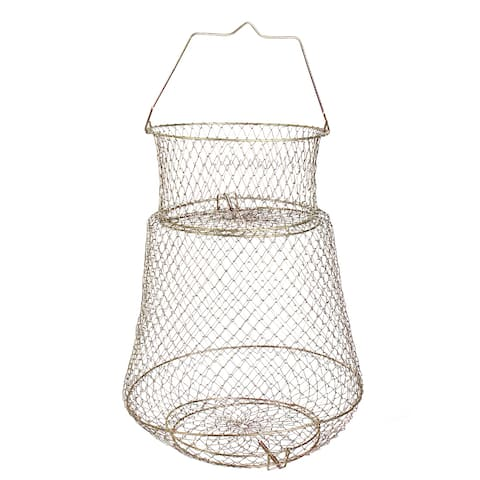 Unique Bargains 0.5 x 0.5 Metal 2 Layers Spring Design Fishing Landing Net Fish Basket Cage Shrimp Bronze Tone