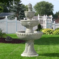 Sunnydaze Four Tier Lion Head Outdoor Water Fountain - 53 Inch Tall