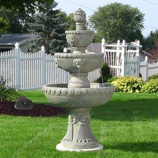 sunnydaze lion head outdoor water fountain 4 tier corded electric 53 inch - Garden Water Fountains