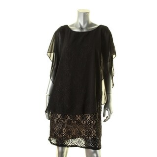 R&M Richards Womens Petites Evening Dress Flutter Sleeves Lace
