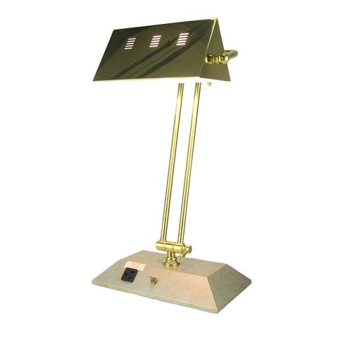 Brass Finish Contemporary Bankers Lamp with Aux Power Outlet - 20 X 11 X 8 inches