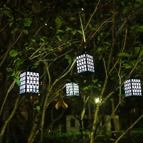 Waterproof Solar Garden Lights, Solar Powered LED Hanging Lantern Outdoor Lights (Pack of 2)