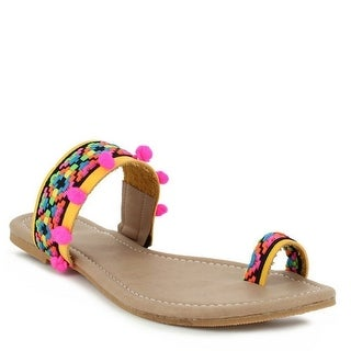 Indios Adult Yellow Multi Color Geometric Design Thong Sandals