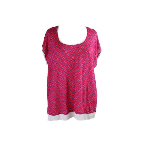 Tommy Hilfiger Pink Multi Printed Scoop-Neck T-Shirt XL