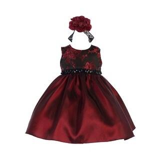 Crayon Kids Baby Girls Burgundy Floral Sequin Flower Girls Dress 6-9M