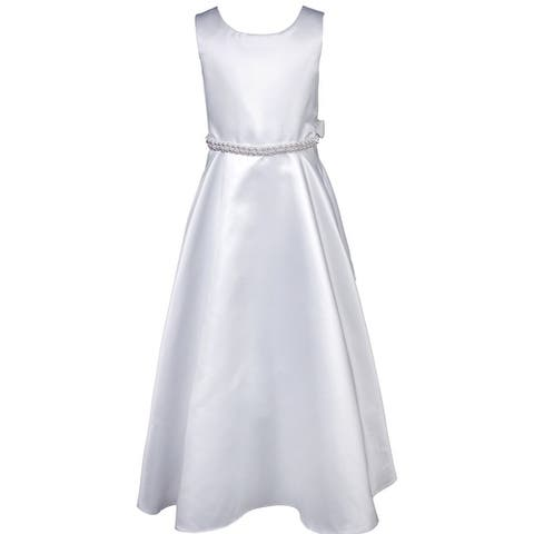 Flower Girl Dress Holy Communion Satin Pearl Trim White KD.386