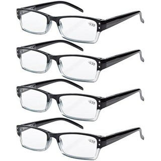 Eyekepper 4-pack Spring Hinges Rectangular Reading Glasses Black +3.00
