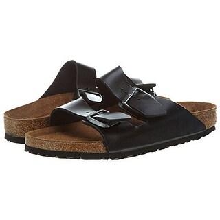 Birkenstock Arizona Black Amalfi Leather Soft Footbed Sandals - 12-12.5 Men