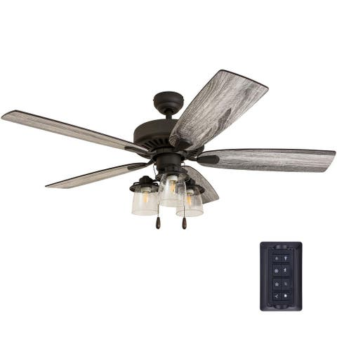 The Gray Barn Chequers 52-inch Coastal Indoor LED Ceiling Fan with Remote Control 5 Reversible Blades - 52