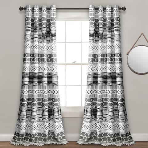 Lush Decor Hygge Geo Room Darkening Window Curtain Panel Pair
