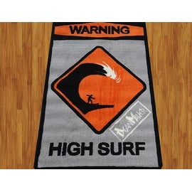 "Dean Miller High Surf Children Rug Black Orange Grey Base Color Kids Rug Children's Machine-washable Non-slip Area Rug 31""X47"""