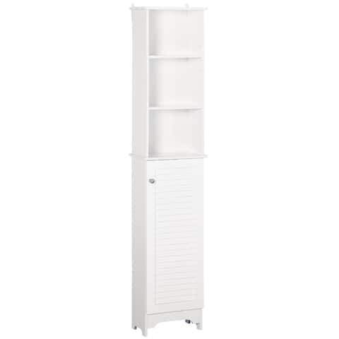 HOMCOM Freestanding Bathroom Tall Storage Cabinet Organizer Tower Cupboard Adjustable Shelves Wooden Furniture White