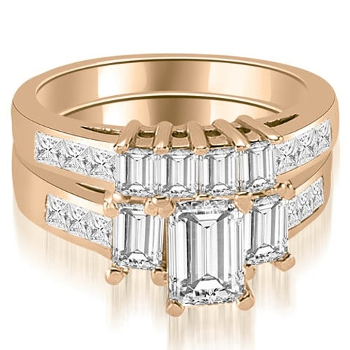 2.50 cttw. 14K Rose Gold Channel Princess and Emerald Cut Diamond Bridal Set