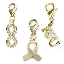 Julieta Jewelry Gold Awareness Ribbon, Infinity, I Heart U 14k Gold Over Sterling Silver Clip-On Charm Set