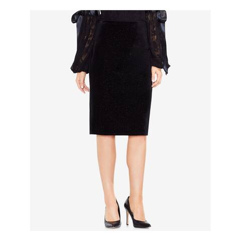 VINCE CAMUTO Womens Black Felt Below The Knee Pencil Wear To Work Skirt Size: S