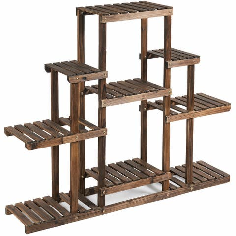 6-Tier Flower Wood Stand Plant Display Rack Storage Shelf - Brown