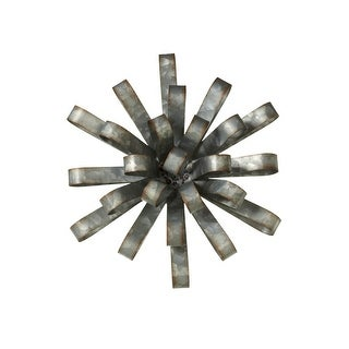 """Set of 2 Gray and Galvanized Finished Dimensional Flower Wall Decor 11"""" - N/A"""
