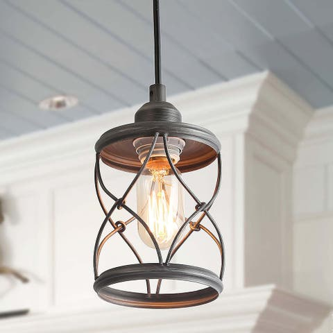 """Industrial 1-light Metal Cage Shade Mini Wire Pendant Lighting - D 5""""*H 7.9"""""""