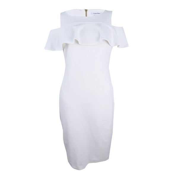 cf6d920c Shop Calvin Klein Women's Petite Ruffled Cold-Shoulder Dress (10P, Cream) -  Cream - 10P - Free Shipping Today - Overstock.com - 25603828
