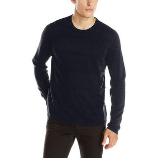Calvin Klein CK Sweater X-Large Officer Navy Blue Striped Crewneck Pullover - XL
