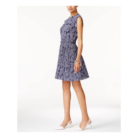 MICHAEL KORS Navy Sleeveless Knee Length Fit + Flare Dress Size 12