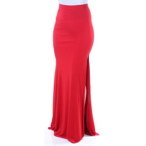 XSCAPE Womens Red Slitted Full Length A-Line Evening Skirt Size 4