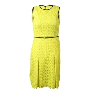 Calvin Klein Women's Belted Pleather-Trim Embroidered Lace Dress - Citron (3 options available)
