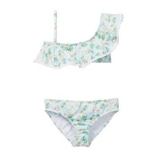 Azul Girls Green Perfectly Prim One Shoulder Bikini 2 Pc Swimsuit