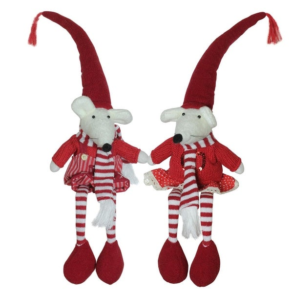 Set of 2 Plush Red and White Striped Sitting Christmas Boy and Girl Mice with Heart Decorations 15""
