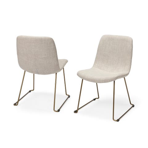 Mercana Sawyer I Cream Fabric Seat Gold Metal Frame Dining Chair (Set of 2) - 19.0L x 24.3W x 33.0H