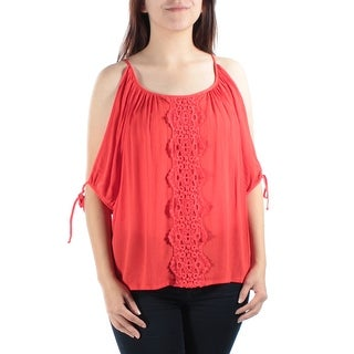 BCX Womens New 1378 Orange Short Sleeve Embellished Casual Top Juniors S B+B