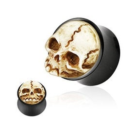 Organic Buffalo Horn Double Flared Plug with 3D Resin Hand Carved Skull (Sold Individually) (More options available)
