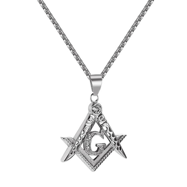 Masonic G Pendant Stainless Steel Freemason Simulated Diamonds Free Necklace 24""