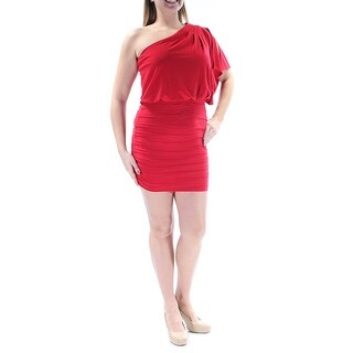 Womens Red Short Sleeve Mini Cocktail Dress Size: 11