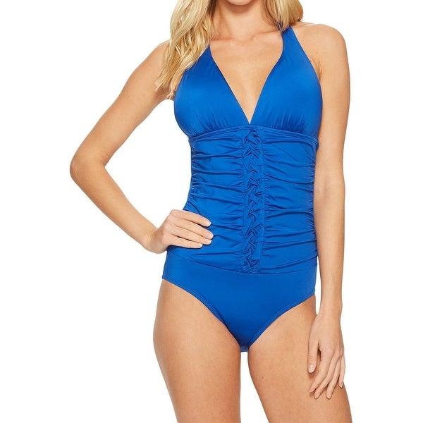 dfe909442cb Jantzen Blue Womens 8 Ruched Slimming Halter One-Piece Swimsuit. Click to  Zoom