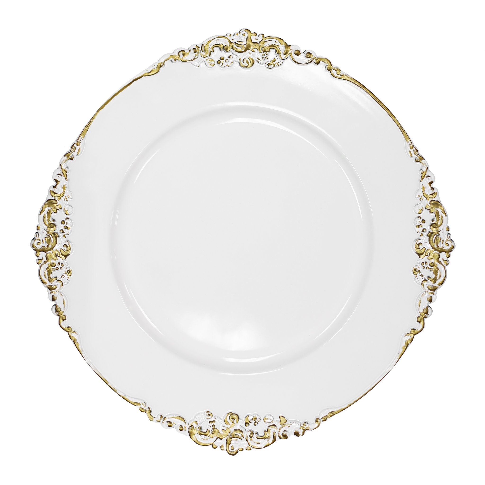 1 Piece Vintage Round Charger Plate White Gold Trimmed White Gold Trimmed Overstock 31681729