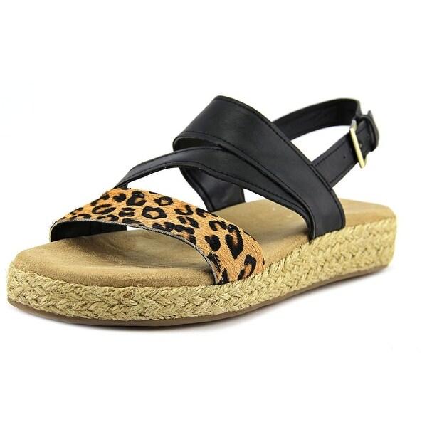 Aerosoles Globetrotter Women Open-Toe Leather Black Slingback Sandal