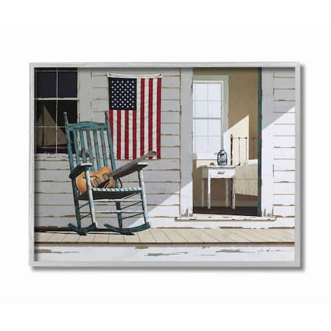 Stupell Industries Americana Porch Rocker with Guitar Painting Framed Wall Art - White