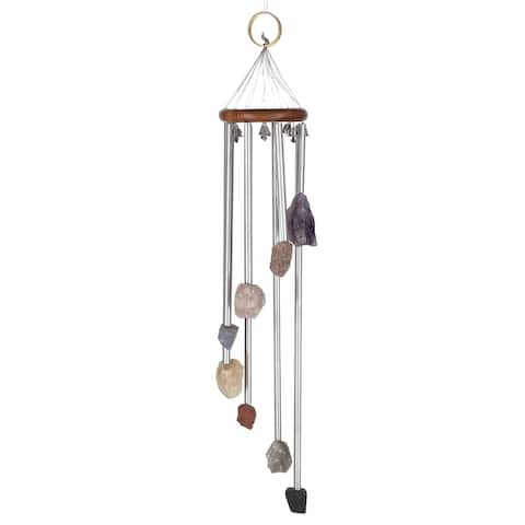 Gorgeous Hand Made Colorful Multi Raw Stones 7 Chakra Windchimes - 18-22 Inches