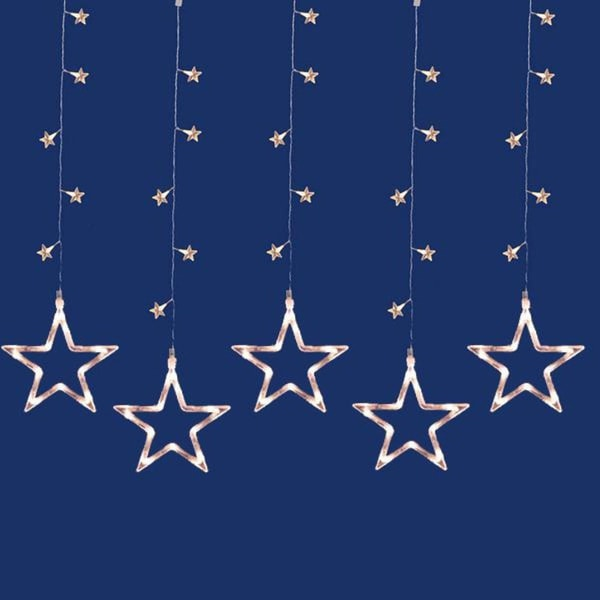Set of 100 LED Clear Star Silhouette Window Curtain Christmas Lights - Clear Wire
