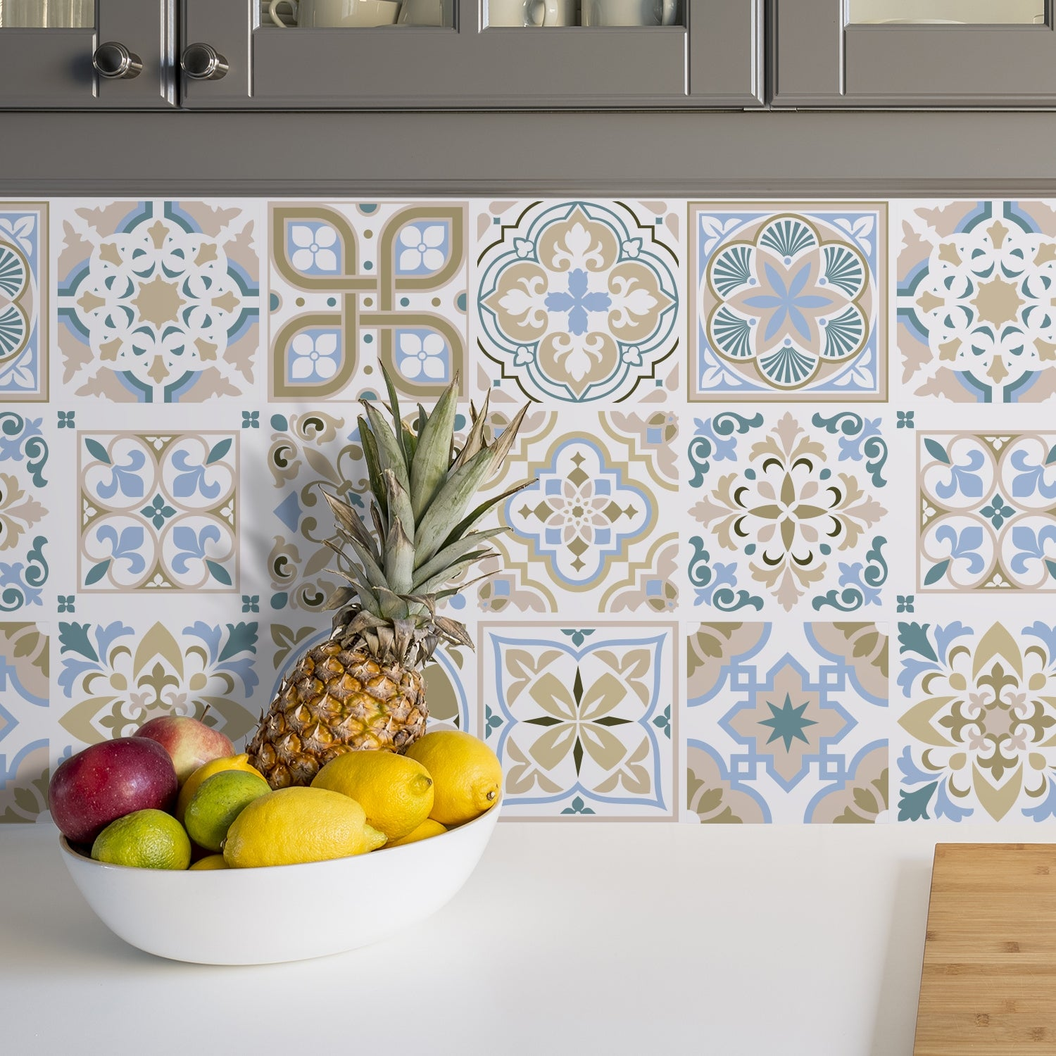 Walplus Light Blue Brown Traditional Spanish Tile Stickers Peel And Stick Sticker 6 X6 Overstock 31665169