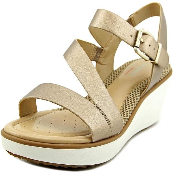 Easy Spirit Isandra Women W Open Toe Synthetic Gold Wedge Sandal