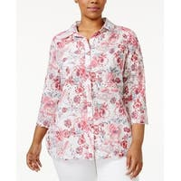 Charter Club Pink Women's Size 3X Plus Floral-Print Eyelet Shirt