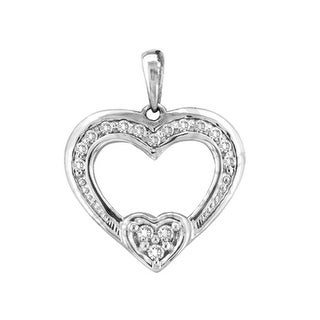 Heart Pendant 10K White-gold With Diamonds 0.125 Ctw By MidwestJewellery - White